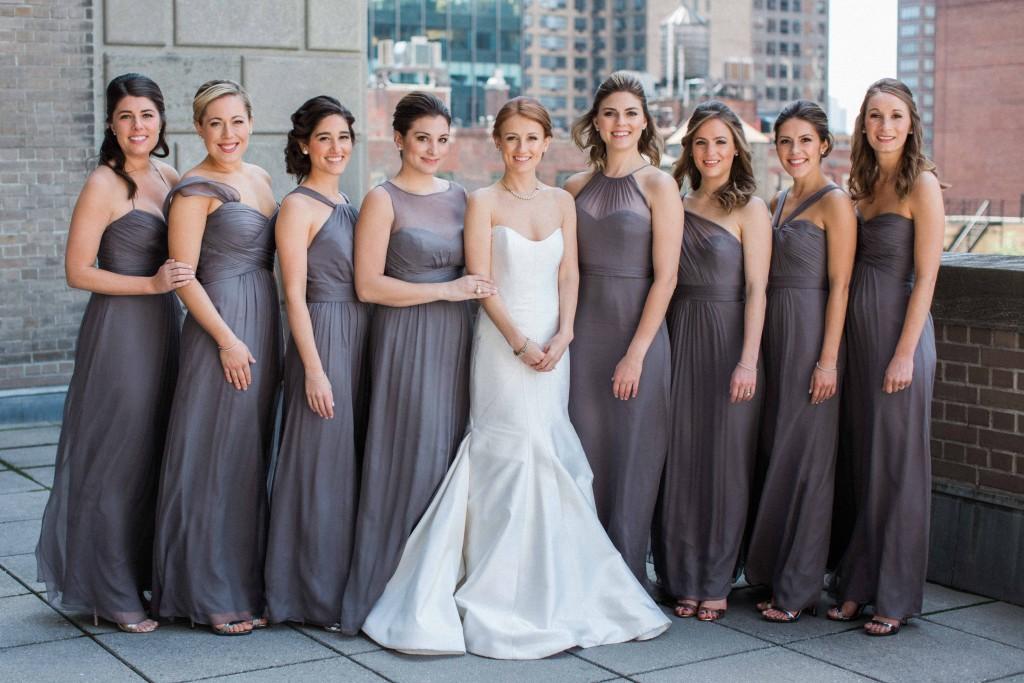 Bridesmaids in Slate Dresses
