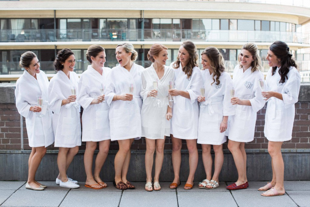 Bride & Bridesmaids Getting Ready in Robes